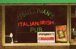 Neon sign in the window at O'Sullivan's Italian Pub