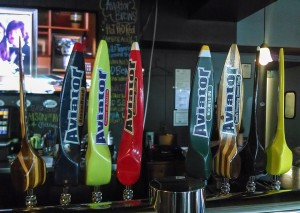 The colorful tap handles at the Aviator Smokehouse.