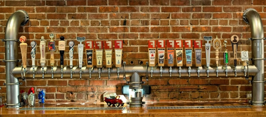 Beer taps along the wall.