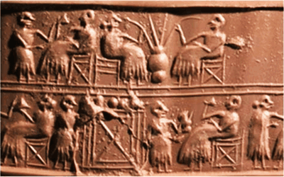Ancient Sumerians are depicted drinking beers.