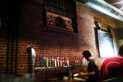 Beer taps at Fullsteam Brewery