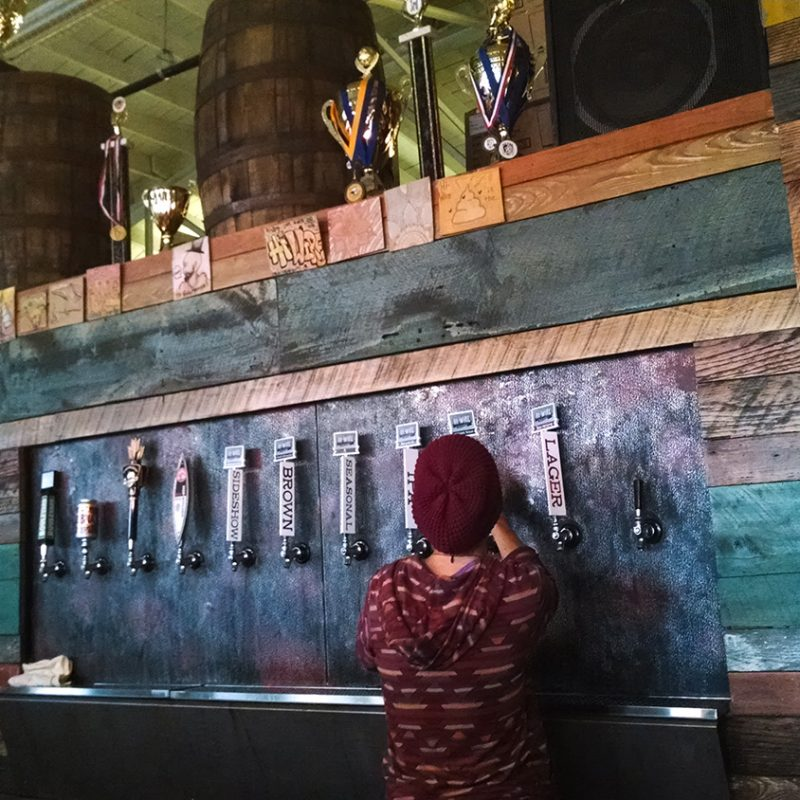 Beer taps at Hi-Wire Brewery