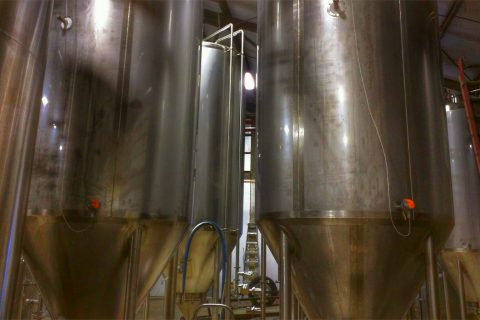 Brew tanks at Lucky Town Brewing