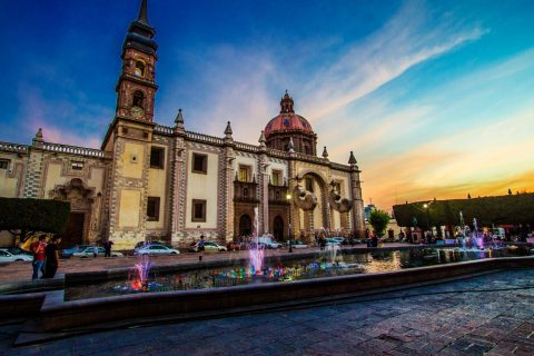 A shot of Queretaro, Mexico at dusk