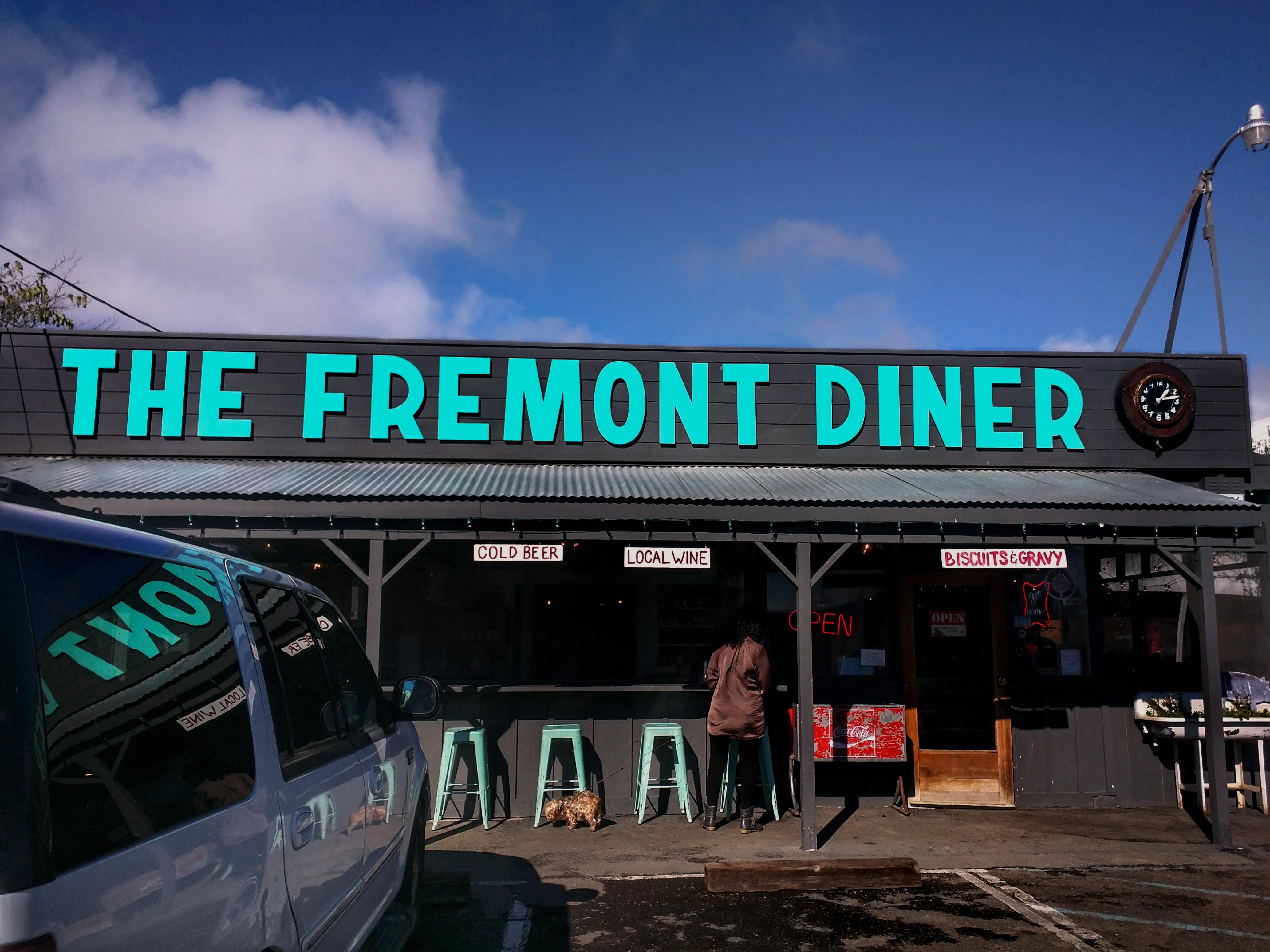View of the Fremont Diner in Sonoma, California with their authentic Nashville Hot Chicken