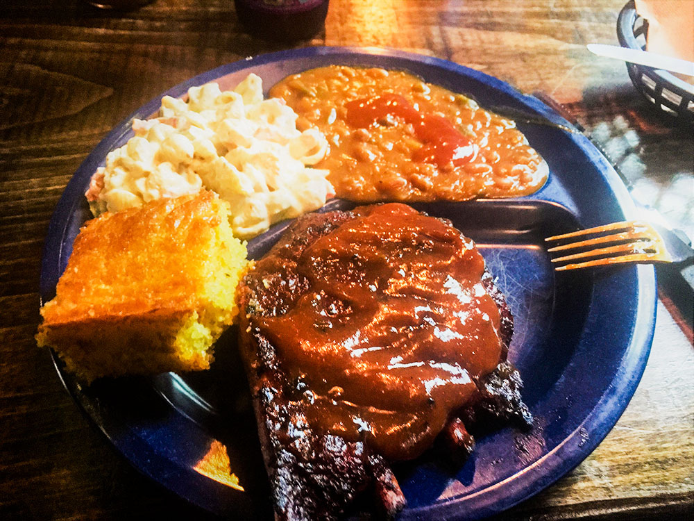 A plate of barbeque from Syracuse's Dinosaur Bar-B-Que