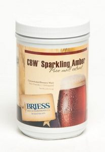 A container of Sparkling Amber liquid malt extract with a reddish color.