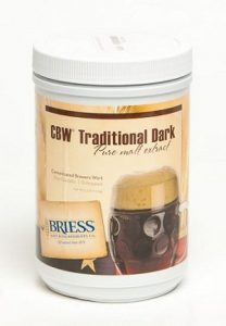 A container of Briess Traditional Dark liquid malt extract which has a very dark brown color.