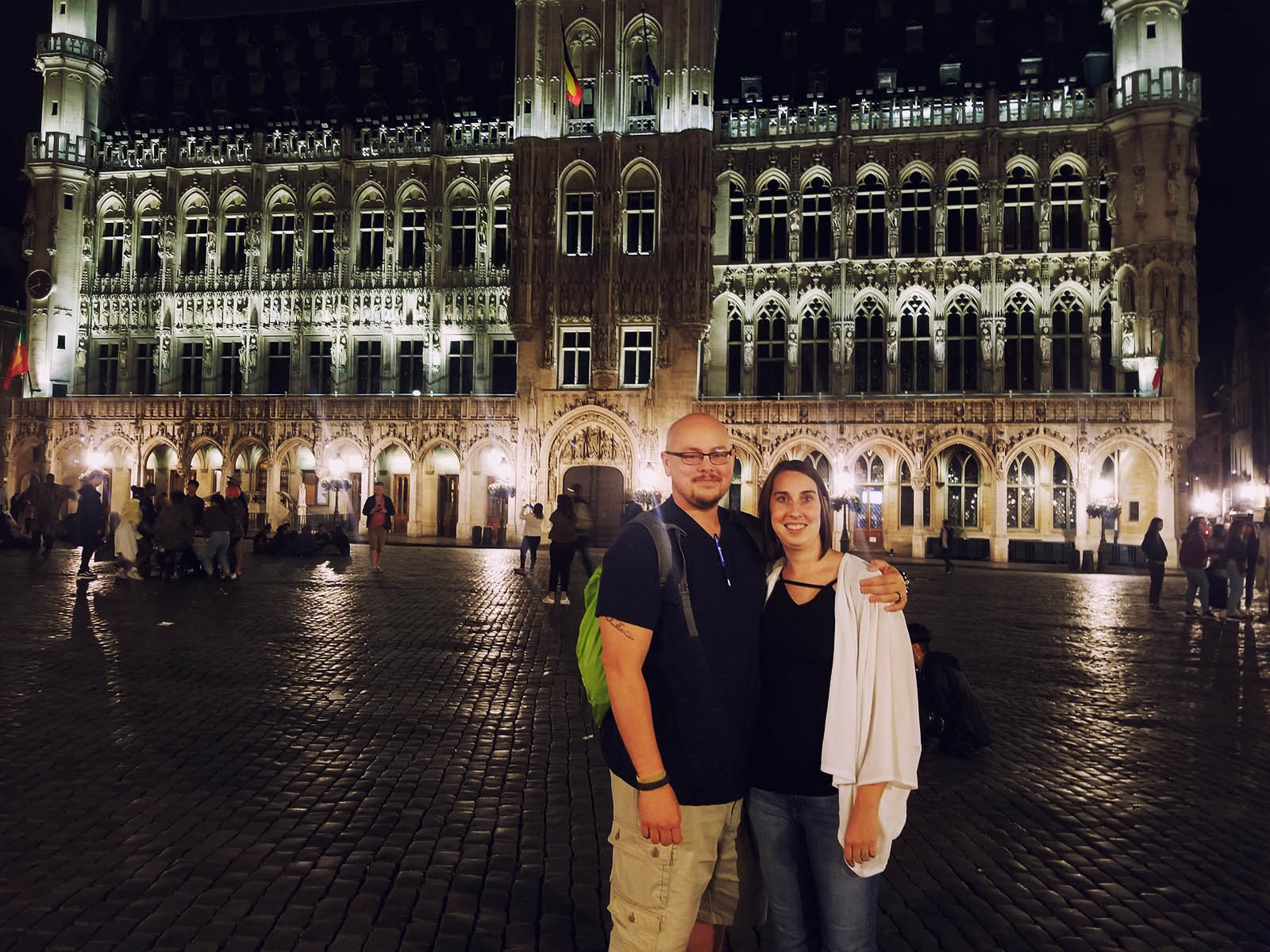 Scott Davis and his wife on the streets at night in Brussels