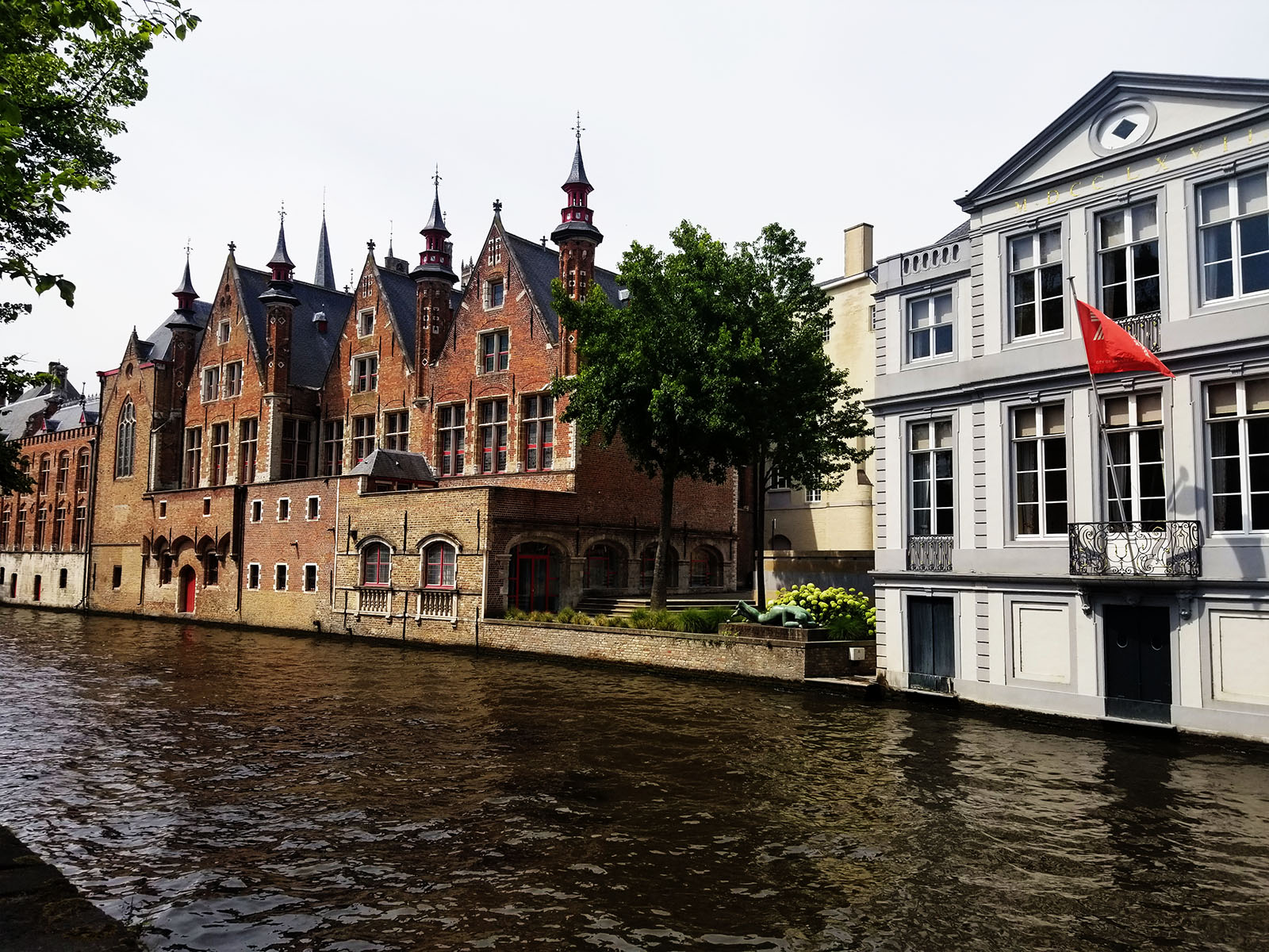 Homes along the canal in Bruges