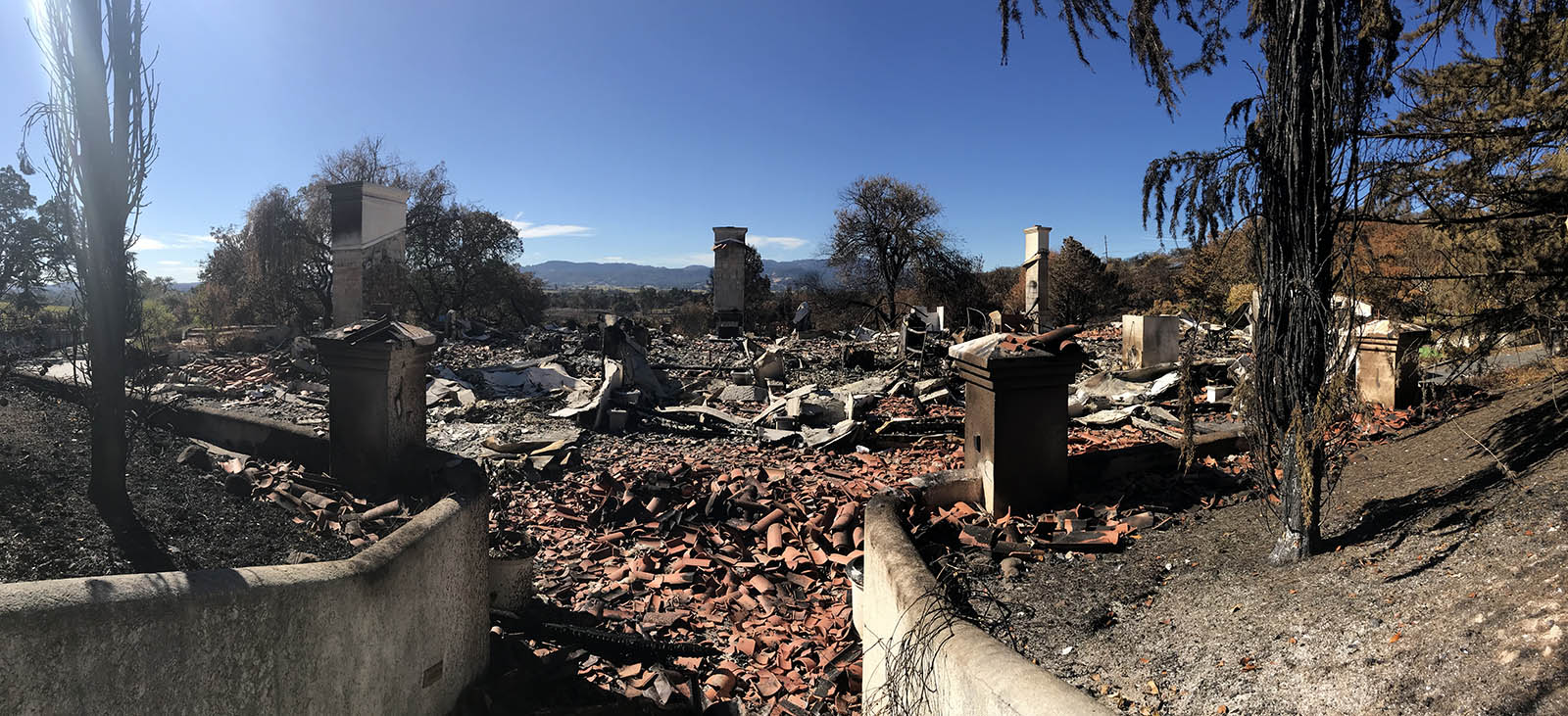 ROY Estate winery damage included charred bricks from the wildfires in California