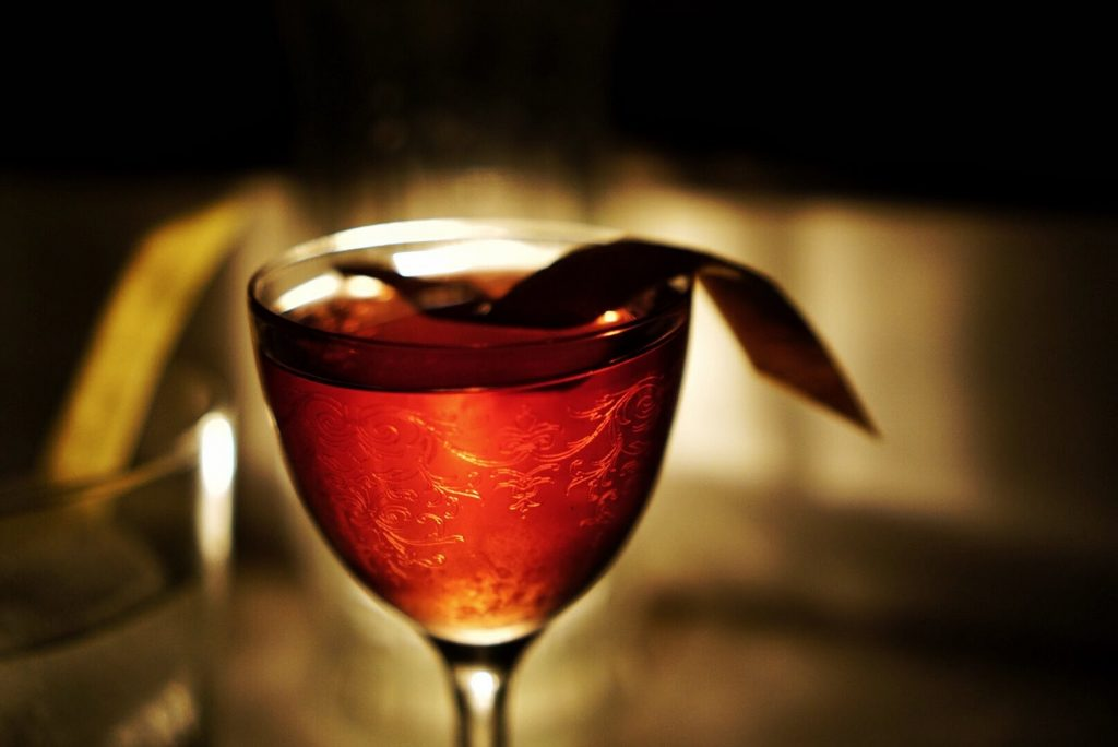 A red mixed drink from Death&Co in Manhattan