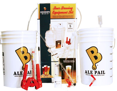 Delux homebrew kit from brewers best with buckets and tubes.
