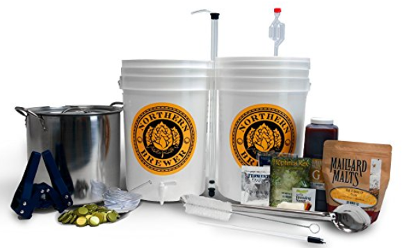 A simple homebrew kit with buckets and grain.