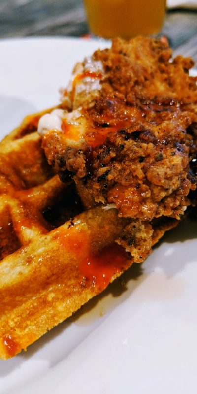 Crispy fried chicken and a fluffy waffle at Page's Okra Grill