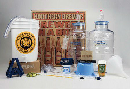 A complete homebrew kit from Northern Brewer complete with big mouth bubbler carboys.