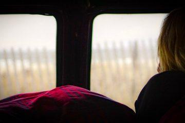 Ocean view from inside a van.